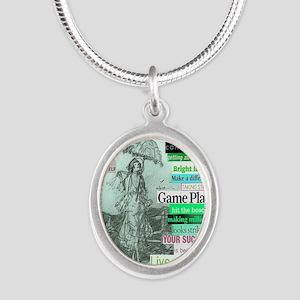 prettyparasol5x8aquapink Silver Oval Necklace