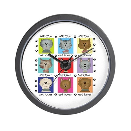Meow Cat Lover Wall Clock