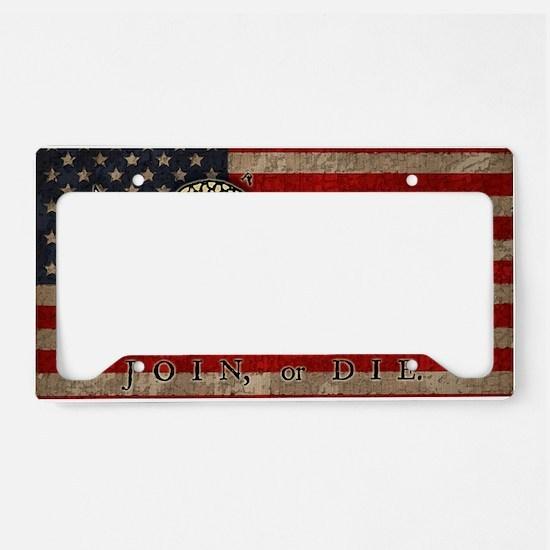 flag1-join-die-T License Plate Holder
