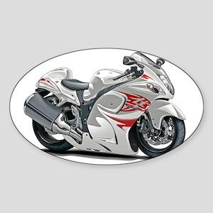 2-Hayabusa White-Red Bike Sticker (Oval)