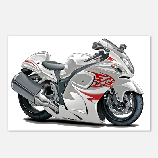 2-Hayabusa White-Red Bike Postcards (Package of 8)