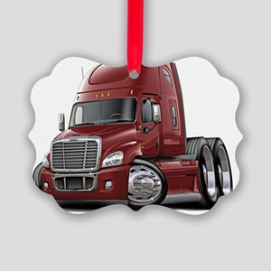 Freightliner Cascadia Maroon Truc Picture Ornament