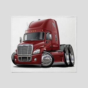 Freightliner Cascadia Maroon Truck Throw Blanket