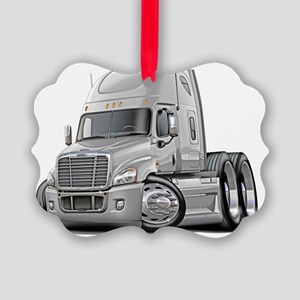 Freightliner Cascadia White Truck Picture Ornament