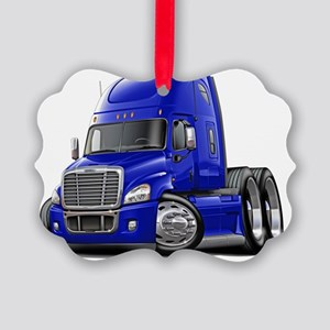 Freightliner Cascadia Blue Truck Picture Ornament