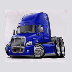 Freightliner Cascadia Blue Truck Throw Blanket
