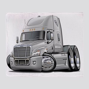 Freightliner Cascadia White Truck Throw Blanket