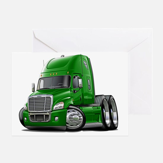 Freightliner Cascadia Green Truck Greeting Card