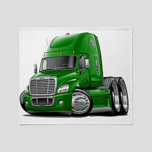 Freightliner Cascadia Green Truck Throw Blanket