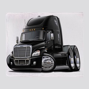 Freightliner Cascadia Black Truck Throw Blanket