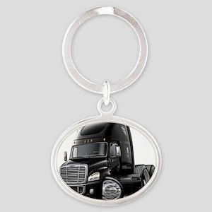 Freightliner Cascadia Black Truck Oval Keychain