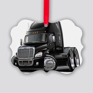 Freightliner Cascadia Black Truck Picture Ornament