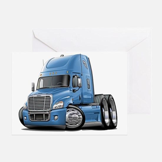 Freightliner Cascadia Lt Blue Truck Greeting Card