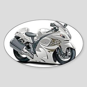 2-Hayabusa White Bike Sticker (Oval)