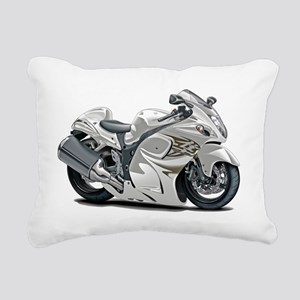 2-Hayabusa White Bike Rectangular Canvas Pillow