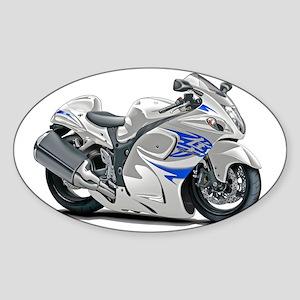 2-Hayabusa White-Blue Bike Sticker (Oval)