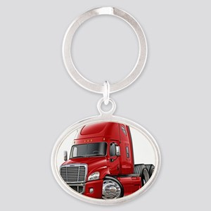 Freightliner Cascadia Red Truck Oval Keychain