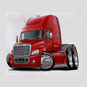 Freightliner Cascadia Red Truck Throw Blanket