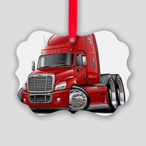 Freightliner Cascadia Red Truck Picture Ornament