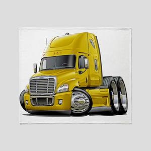 Freightliner Cascadia Yellow Truck Throw Blanket