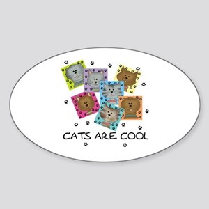 Cats Are Cool Oval Sticker