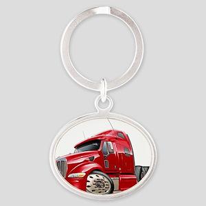 Peterbilt 587 Red Truck Oval Keychain