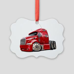 Peterbilt 587 Red Truck Picture Ornament