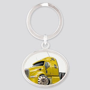 Peterbilt 587 Yellow Truck Oval Keychain