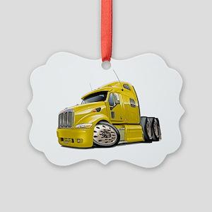Peterbilt 587 Yellow Truck Picture Ornament