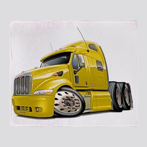 Peterbilt 587 Yellow Truck Throw Blanket