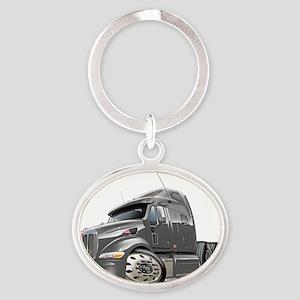Peterbilt 587 Grey Truck Oval Keychain