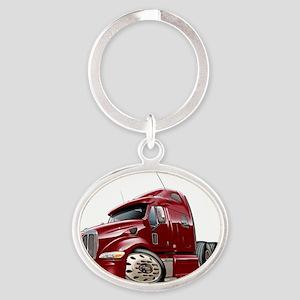 Peterbilt 587 Maroon Truck Oval Keychain