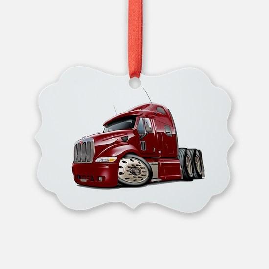 Peterbilt 587 Maroon Truck Ornament