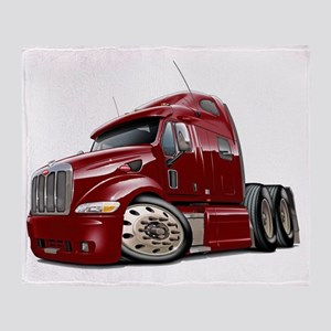 Peterbilt 587 Maroon Truck Throw Blanket
