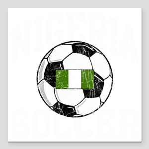 "nigeria soccerballGRN Square Car Magnet 3"" x 3"""