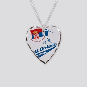 serbian football Necklace Heart Charm