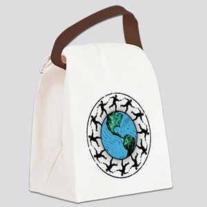 Disc Golfing Planet Earth Canvas Lunch Bag