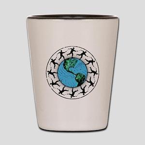 Disc Golfing Planet Earth Shot Glass