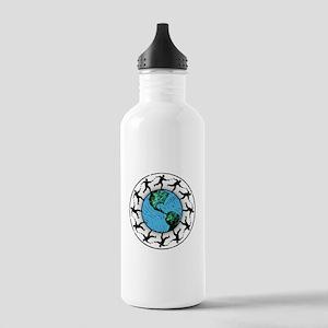 Disc Golfing Planet Earth Water Bottle