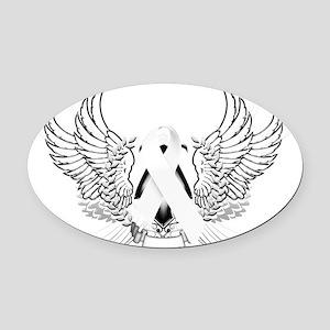 Awareness Tribal White Oval Car Magnet
