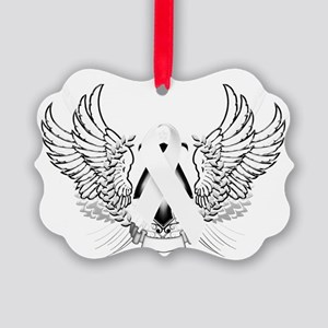 Awareness Tribal White Picture Ornament