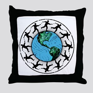 Disc Golfing Planet Earth Throw Pillow