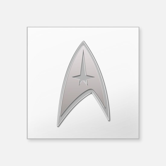 STAR TREK Silver Metallic Insignia Square Sticker
