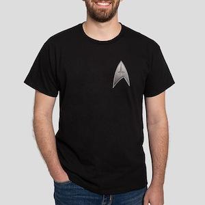 STAR TREK Silver Metallic Insignia Dark T-Shirt