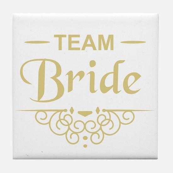 Team Bride in gold Tile Coaster