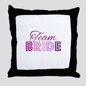 Team Bride in purple and pink Throw Pillow