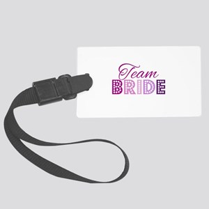 Team Bride in purple and pink Large Luggage Tag