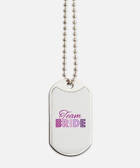 Team Bride in purple and pink Dog Tags