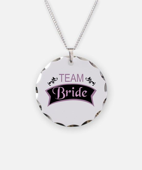 Team Bride in black and pink Necklace