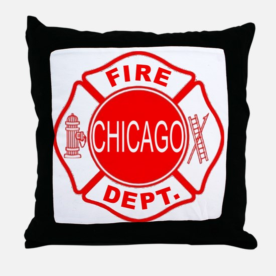 cfd maltese outline filled in fire de Throw Pillow